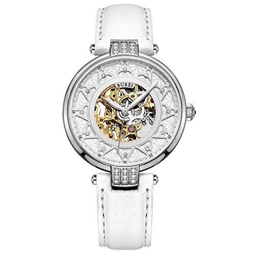 Gold-silber-uhr-band (BUREI Damen Automatik Uhr mit Silber Gold Saphir Objektiv und Echte weiß Leder Band)