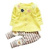 Baby Mädchen Warme Baumwoll Blumen Lange Hülsen Wolljacke + Lange Hosen Xinantime (2-3Jahre, Gelb)