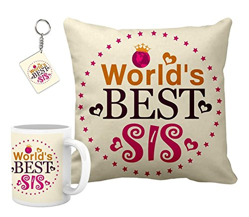 Gift For Rakshabandhan Rakhi Gifts Hamper For Sister Combo (Cushion 12 inch x 12 inch, Ceramic Coffee Mug and Keychain) Rakhi gift for sister and brother | Rakhi gift for brother | gift for sister | rakhi gift | rakshabandhan gift ideas | online rakhi gifts | send rakhi gifts to india | personalized gifts online | customized present | happy birthday gift for brother | birthday gift for sister | 12' x 12' cusion cover with filler complete set and keychain and mug combo hamper by Printelligent