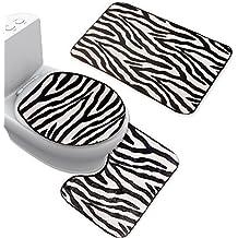 Set 3Pezzi Nero Bianco zebra Tappetino da bagno tappetino Set
