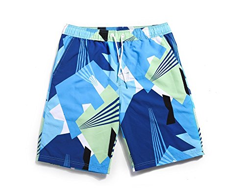 Lantra Besa Blaue Geometrische Figur Wasserabweisend Schnelltrocknend Damen Herren Badehose Badeshorts Knielang und Mini Shorts für Wassersport Freizeit im Sommer Typ 8 Herren