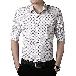 Gladiolus Camisas a Lunares para Hombre Moda de Manga Larga Slim Fit Casual M/L/XL/XXL/3XL Blanco