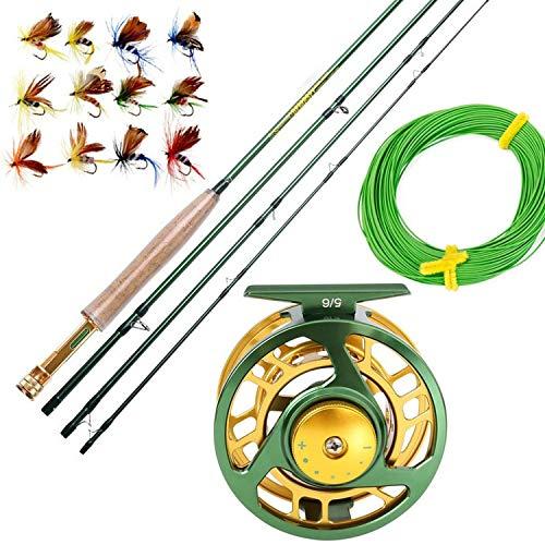 # 06.05 Fly Fishing Rod Set 2.7M Fliegenrute und Fliegenrolle Combo mit Fischköder Linie Box Set Angelruten-Gerät, Hellgrün