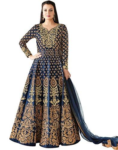 Salwar Suit Jesti Designer Women\'s Navy Banglory Silk Embroidery Gown Latest Party Wear Designe Straight Anarkali Semi Stitched Free Size Salwar Suit Dress Material With Dupatta (MiraNavy)
