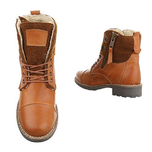 Schnürboots Leder Damenschuhe Combat Boots Blockabsatz Schnürer Schnürsenkel Ital-Design Stiefeletten Camel