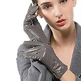 Nappaglo Damen klassische Handschuhe aus echtem Nappaleder Reines Kaschmir-Futter Winter Warm Handschuhe (L (Umfang der Handfläche:19.0-20.3cm), Grau(Non-Touchscreen))