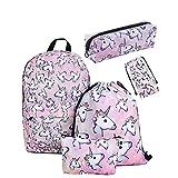 leah's fashion Zainetto per bambini Unisex - Bambini Pink 42cm*39cm -Unicorn Zaino Scuola Per Ragazze Adolescenti Spalla Borse Coulisse