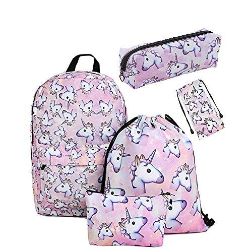 919ee8f767 leah's fashion Zainetto per bambini Unisex - Bambini Pink 42cm*39cm  -Unicorn Zaino Scuola Per Ragazze Adolescenti Spalla Borse Coulisse