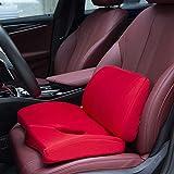I cuscini per l'aumento dell'auto migliorano efficacemente la visione e l'altezza del guidatore. Cuscino in schiuma di memoria antiscivolo per cuscino avanzato Comfort Per i conducenti più piccoli,Red