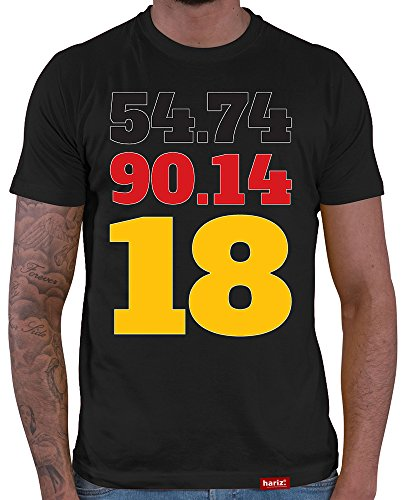 HARIZ  Deutschland Fussball Collection Herren T-Shirt Schwarz Designs Wählbar Trikot Adler Fahne Inkl Urkunde Bang Sticks WM 32 54 74 90 14 18 XL