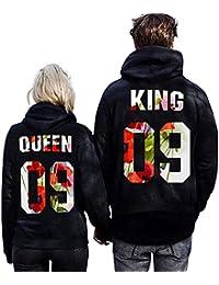 Minetom Moda Hombre y Mujer Pareja Impresión Corona KING & QUEEN Sudaderas con Capucha Manga Larga Jersey Camisa de Entrenamiento Pullover Hoodies