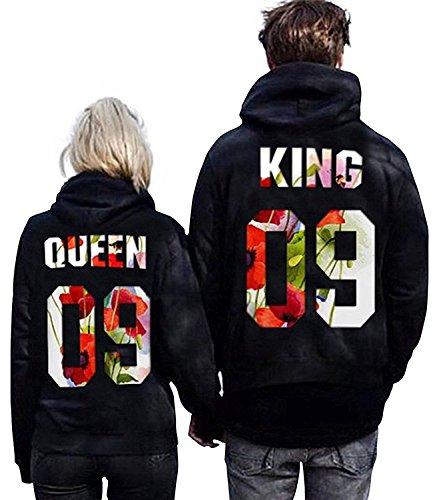 Minetom Moda Hombre y Mujer Pareja Impresión Corona KING & QUEEN Sudaderas con Capucha Manga Larga Jersey Camisa de Entrenamiento Pullover Hoodies Flor EU