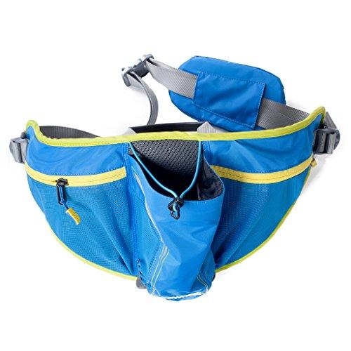 Tofern 750ML Trinkflaschenhalter Gürteltasche Hüfttasche für Radfahren Laufen Bergsteigen mit Abnehmbarer Netztasche Nylon Flasche Senktecht YKK Reißverschlüsse Professionelle Outdoor Sport Zubehör Blau