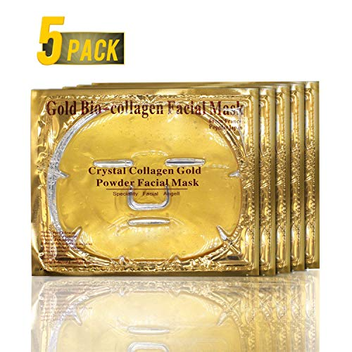 ALIVER Gold Bio Collagen Crystal Face Mask - Anti Aging, Wrinkles, Moisturising, Blemishes, Firming, Toning, Dark Circles, Smoothing Skin, Natural Lift (5 Pack)