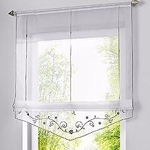 Romano sombra ventana cortina bordado de flor cortina visillos con trabilla ajustable mediante cinta, para salón, dormitorio o cocina moderna (120*140cm, gris)