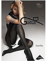 Gatta Loretta 101 - 50den - blickdicht gemusterte schwarze Strumpfhose mit trendigem Muster Design
