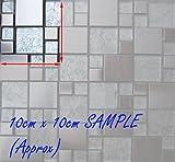 Silver Brushed Stainless Steel & Silver Asian Pattern Modular Mix Mosaic Tiles Sheet (MT0048) (Sample)