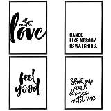 Set de 4 Posters | Feel Good | Muraux Imprimés à Phrase de Motivation | Format A4 de Haute Qualité 300 GSM | Affiches d'Art Moderne et de Citation Sans Cadre pour Chambre, Salon, Bureau | 21x29.7 cm