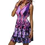 Juleya Ruffled Hem Women Dress Sleeveless Sexy Deep V-Neck Dress Flower Printed Floral Dress White/Purple/Blue
