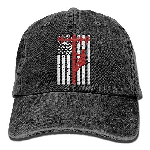 Hombres Gorra de béisbol para Mujer Sombrero American Lineman Flag Vintage Denim Trucker Hat para Hombres