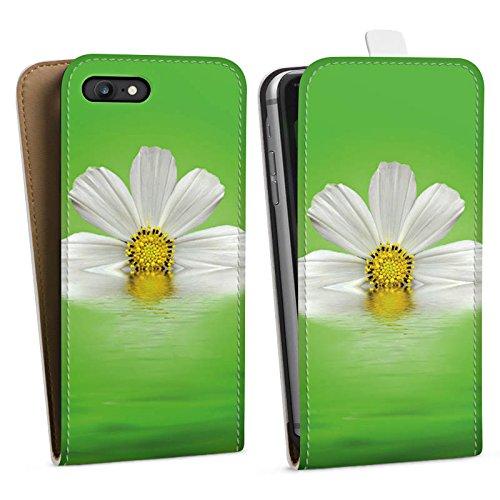 Apple iPhone X Silikon Hülle Case Schutzhülle Gänseblümchen Blume Blüte Downflip Tasche weiß