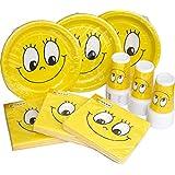 Heku 30005desechables de Set de fiesta con platos, vasos y servilletas, 120piezas, Smiles, 40x29x7 cm