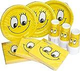 Heku Einweg-Party-Set Smile mit Tellern, Bechern und Servietten, 120-teilig