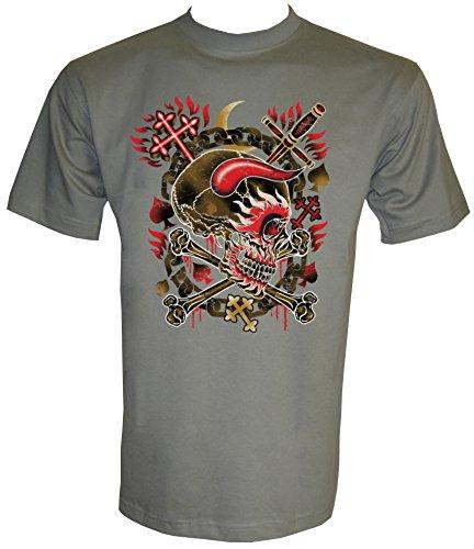 Horned Skull Flames T-Shirt in Größe S - 5XL Zinc