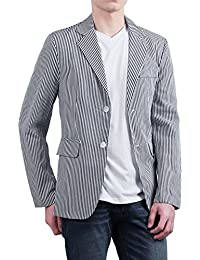 Sourcingmap Allegra K Men Notched Lapel Single Breasted Slim Fit Stripes Blazer