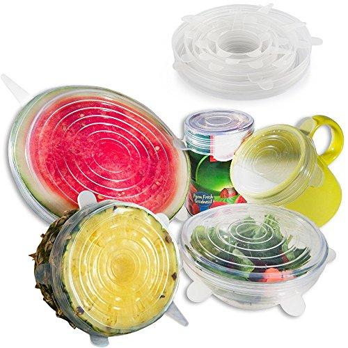 Anpro 7 Stück Silikondeckel Dehnbare Frischhalte Deckel Verschiedenen Größen Silikon Deckel Set für Gemüse, Becher, Töpfe, Tassen, Obst, EINWEG