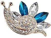 FENGJI Women Animal Crystal Lovely Snails Coat Wedding Decoration Rhinestone Brooch pins Blue