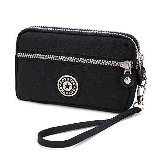 3 Layers Zipper Wallet Purse Waterproof Nylon Handbag Cellphone Bag Storage Pouch Case with Wrist Strap for Apple iPhone Samsung / Key Money MP3 Card Under 6''