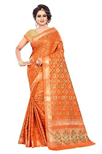 Ecolors Fab Tassar Silk Saree (_Orange_Free Size)