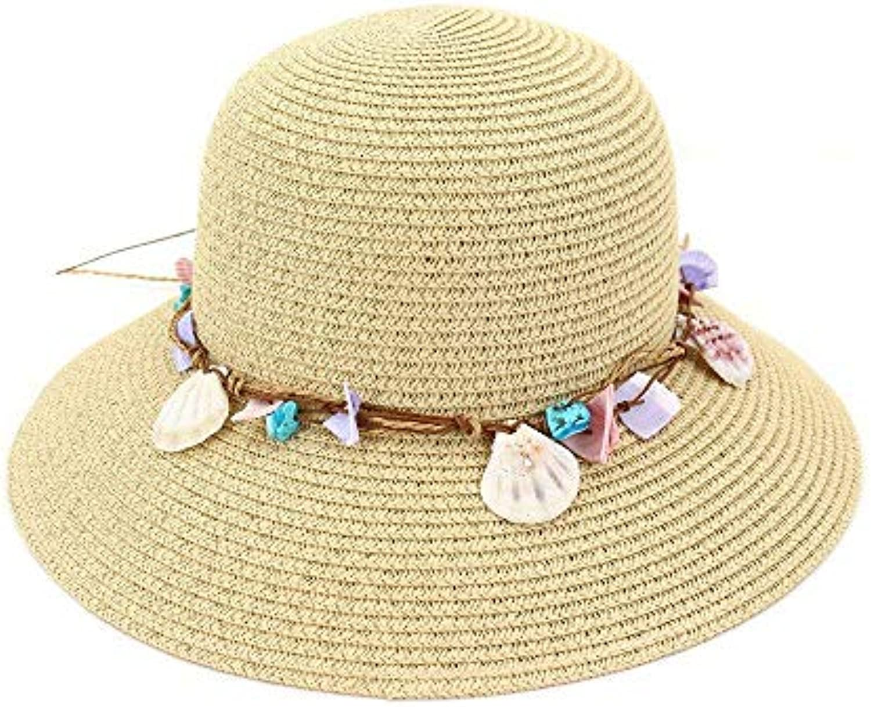 Fuxitoggo Cappello con di Paglia Ampio Bordo con Cappello Cappellino Floppy  da Spiaggia (Coloreee Beige 81721eb0ce00