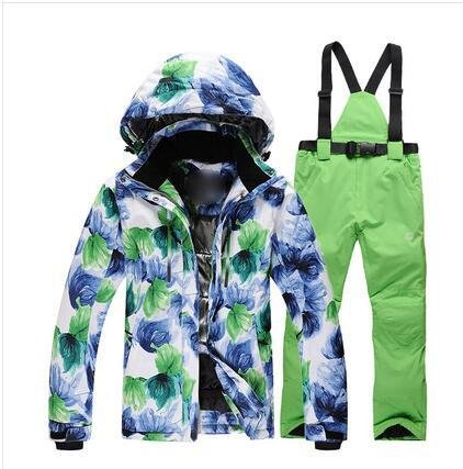 HUA&X Frauen Mantel ski Jacke hose Anzug wasserdichte Regenjacke warme zipper Hosen verdickt, grün 5, M