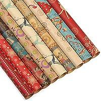 Kesoto 27 Hojas de Papel de Envolver de Navidad Papel Kraft para Regalo deNavidad, 27 Rollos de 9 Modelos, 70 x 50 CM