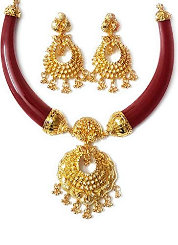 JESSORESWARI JEWELLERS Red Zinc Pola Necklace Jewellery for Women (A2)