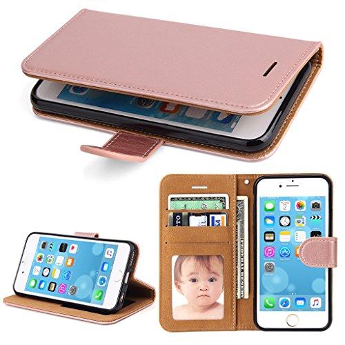 Iphone Wallet-fällen 6 (iPhone 6 Hülle, iPhone 6S Hülle, SOWOKO Leder Etui Flip Case Handyhülle für iPhone 6/ 6S Wallet Tasche mit Integrierten Kartensteckplätzen und Ständer /Magnetverschluss, Rose Gold)