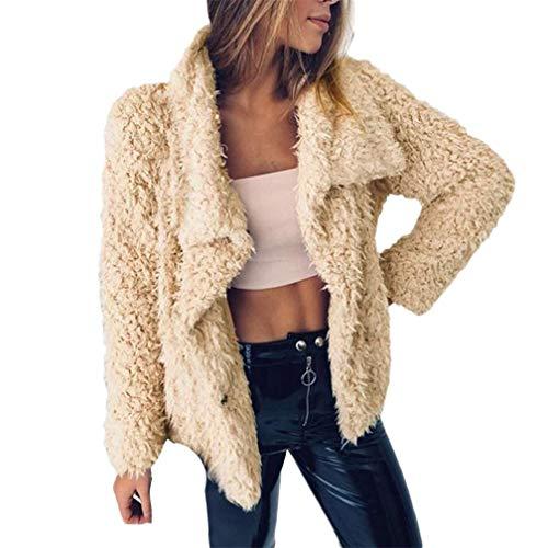Wokaco Winter-Frauen-Plüsch-beiläufige warme Kunstpelz-Lange Hülse Feste Jacke übersteigt Frauen-Mantel