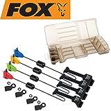 Fox Micro Swinger 4er Set Bissanzeiger - Pedelbissanzeiger Zum Karpfenangeln, Farben: Rot, grün, Orange & Blau verschiebbares Gewicht & Einfach Montage!