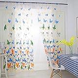 Wingbind Tüll Vorhänge, Bunte Schmetterling Gemustert, Schiere Vorhänge Vorhänge Voile Vorhänge Vorhang Panel Zimmer Balkon Panel Bildschirm Vorhang Dekoration, blau 100x270cm
