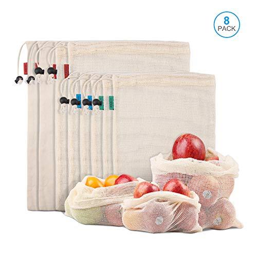 Kupton Bolsas de Comida para Fruta,Juguetes y Libros-Bolsas de Comestibles Hechas de Algodón Orgánico para una Compra sin Residuos-Ligeras,con Cordón,Puntada Doble y Etiqueta de Tara