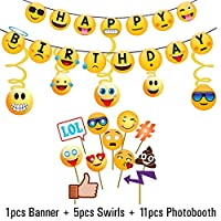 Party Propz 17Pcs Emoji Party Supplies For Birthday Decoration Items For Girls,Boys,Kids