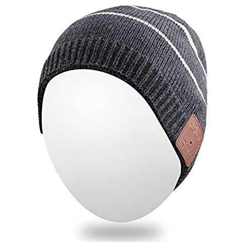 Qshell Rechargeable Wireless Bluetooth Music Beanie Trendy Short Striped Hat Cap w/ Stereo Headphone Headset Earphone Speakerphone Mic for Outdoor Sports Skating Hiking Camping, Christmas Gift -