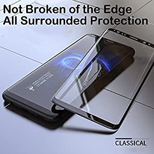 Sensible 5D Premium Edge to Edge Full Glue, Full Front Body Cover Tempered Full Glass Screen Protector Guard for Samsung Galaxy S9 Plus - Full Black