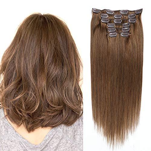 Clip in Extensions Echthaar Remy Haarverlängerung #6 Hellbraun 50cm Glattes Haar 7 Stück 70g -