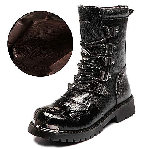 MERRYHE Männer Armee Militär Kampfstiefel Lace Up Mid Kalb Boot Antikollisions Warme Winterschuhe Punk Rock Martin Stiefel,Black-45 Chap-boot