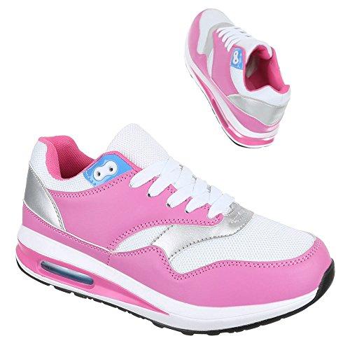 Damen Schuhe, 365-5A, Freizeitschuhe SNEAKERS TURNSCHUHE Pink Weiß