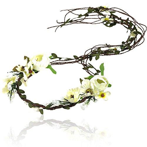 AWAYTR Boho Braut Blume Girlande Stirnband - Frauen Mädchen Einstellbare Baum Rattan Blatt Floral Haar Kranz Hochzeit Fotografie Dekoration (Beige)