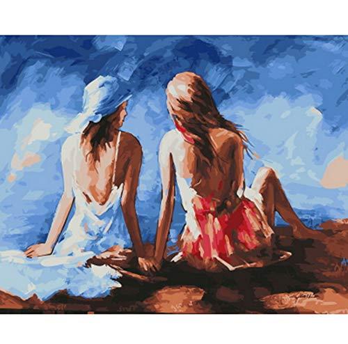 Cuadro pintura al óleo por números decoración de pared pintura DIY sobre lienzo para decoración del hogar sentado Enmarcado